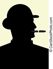 Gentleman smoking a cigar, isolated vector illustration