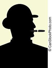 Gentleman smoking a cigar, isolated vector illustration
