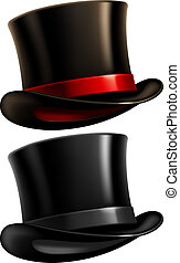 Two black top hats isolated on white background. Vector illustration.