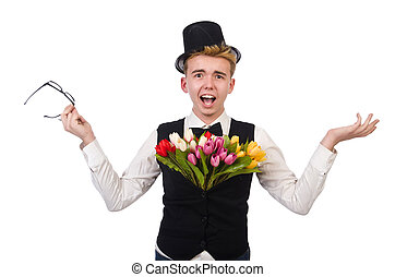 Gentleman with flowers isolated on white