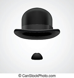 gentleman with small moustaches and bowler hat - small...