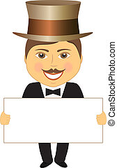 gentleman with space for text - cheerful gentleman in hat...