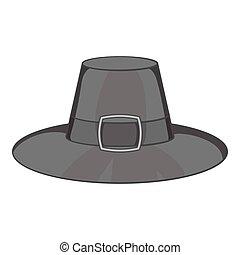 Gentlemans hat icon, black monochrome style