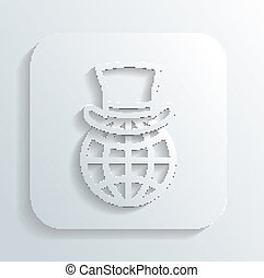 Gentleman's hat on a globe icon vector