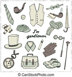 Gentlemans vintage accessories doodle set.