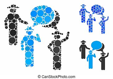 Gentlemen discussion Composition Icon of Round Dots