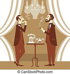 gentlemen in club.Vector illustration