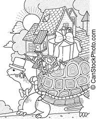 gentlemen turtle adult coloring page