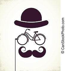 Gentlemen with Bicycle eyeglass - vintage style poster