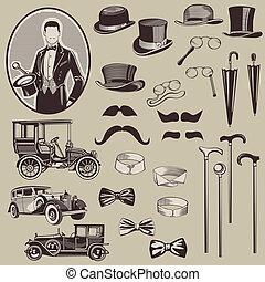 gentlemen's, gammal, bilar, -, tillbehör, hög, vektor, set...