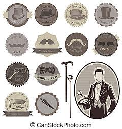 gentlemen's, set-, etiquetas, -, accesorios, alto, vector,...