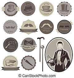 gentlemen's, set-, etiquetas, -, acessórios, alto, vetorial,...