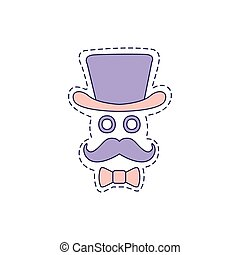 Gentlman With Moustache And Top Hat Bright Hipster Sticker