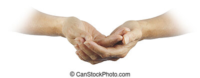 Female gently cupped hands emerging from a white background with a religious, pure feel
