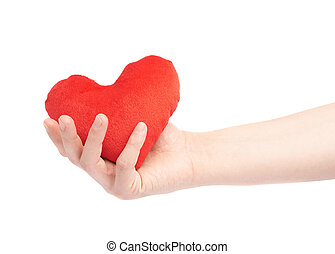Gently holding plush red toy heart with one hand, composition isolated over the white background