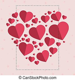 Gently pink-red hearts in the form of a big heart on a white background