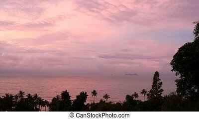 Gently purple sky with pink cloudsduring sunset or sunrise...
