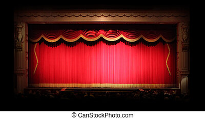 genuíno, dentro, fase, cortinas teatro