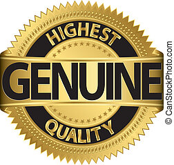 genuíno, qualidade, alto, etiqueta, ouro