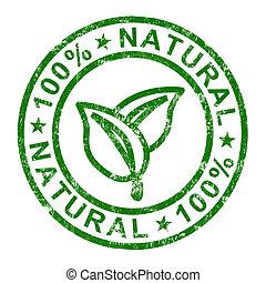 genuíno, selo, 100%, produtos, puro, natural, mostra