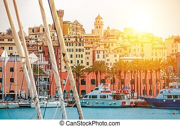Genua Harbour Northern Italy. Genua Cityscape and the Marina...