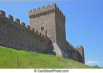 Genuese fortress in Sudak taken in Crimea, Ukraine, May