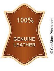 genuin, läder, etikett