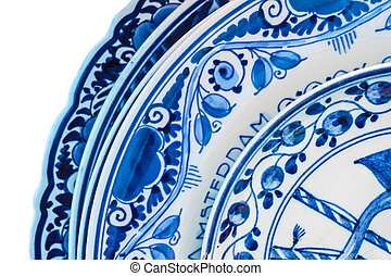 Genuine ancient Dutch blue and white porcelain dishware with...