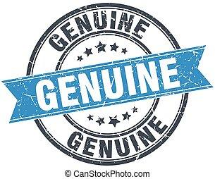 genuine blue round grunge vintage ribbon stamp