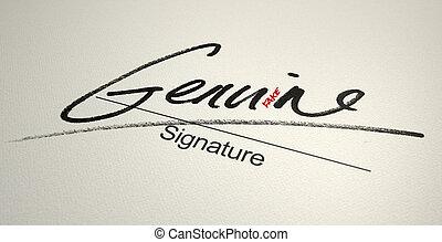 Genuine Fake Signature - A deceptive concept showing a white...