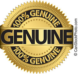 Genuine gold label, vector illustra