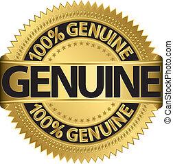Genuine gold label, vector illustration