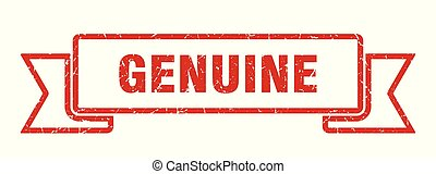 genuine grunge ribbon. genuine sign. genuine banner