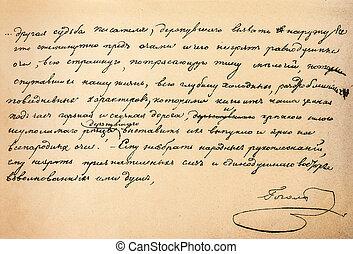 Genuine handwritten text by great Russian writer Nikolai...