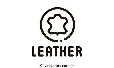 genuine leather label Icon Animation. black genuine leather label animated icon on white background