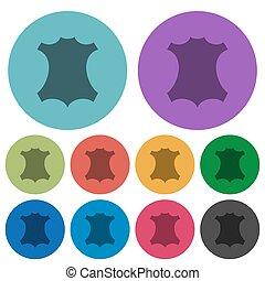 Genuine leather symbol color darker flat icons