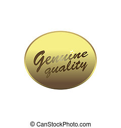 Genuine quality label, simple style