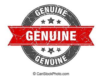 genuine round stamp with red ribbon. genuine