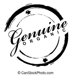 genuine stamp - Simple ink drawn icon with genuine organic ...