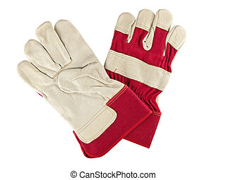 work gloves - Genuine white leather and red fabric work...