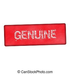 genuine white wording on wood red background