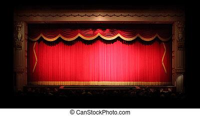 genuino, dentro, etapa, cortinas de teatro