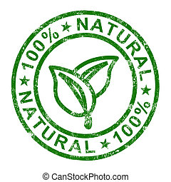 genuino, estampilla, 100%, productos, puro, natural,...