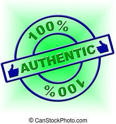 genuino, percento, indica, articolo, cento, autentico, ...