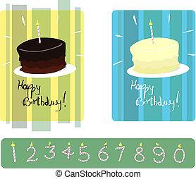 genummerde, cakes, set, &, kaarsjes, vanille, chocolade, jarig