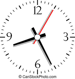 genummerde, vector, klok, illustratie