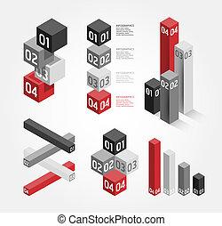 genummerde, zijn, grafisch, gebruikt, opmaak, grafiek, moderne, /, website, vector, ontwerp, groenteblik, infographics, banieren, of