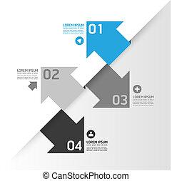 genummerde, zijn, grafisch, gebruikt, opmaak, moderne, lijnen, horizontaal, /, website, banieren, vector, ontwerp, groenteblik, mal, infographics, cutout, of