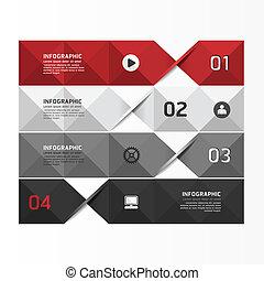 genummerde, zijn, grafisch, gebruikt, opmaak, moderne, /, website, banieren, vector, ontwerp, groenteblik, mal, infographics, geometrisch, of