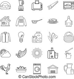 Genus icons set, outline style